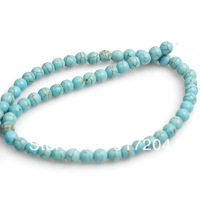 Wholesale 6mm Blue Round Nature Turquoise Jewelry Bead High Quality 552pcs/lot Free Shipping