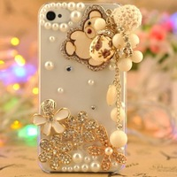 Handmade Rhinestone Crystal Diamond Little Bear Pendant Cute Cat Dog Lovely Heart squirrel Case for iPhone 4 4S 5 5S 1pcs/lot