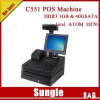 DHL free shipping POS system DDR3 1GB with 58mm USB POS printer+ 3-positon lock Money Box + barcode scanner POS machine