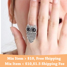 2014 High quality Fashion vintage Classic Punk Bronze Silver Pretty Lovely Owl Rings Accessories Cheap Wholesale