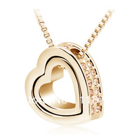 mix lot wholesale Double heart full rhinestone austria crystal CZ diamond 18 K GOLD with swarovski elements GP pendant necklace