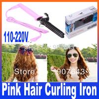Free Shipping+DropshippingTo Brazil Russia, Hair Curling Iron Three Barrel 110-220V (EU US Plug) Black  Pink Color are provided
