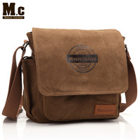 MC casual design brown Canvas men small shoulder bag for iPad free shipping