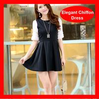 2014 Hot Selling Elegant Slim Chiffon Cute Puff Sleeve Casual Dress Women 272