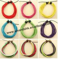 100pcs/lot fashion cotton  morden bracelet for lady 9 colors eco-friendly charm bracelet free shipping