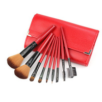 high quality 9 PCS Professional Goat hair Makeup Cosmetic Brush set Kit Case H1005C Alishow