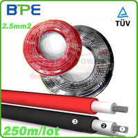 250 meters/roll, TUV Solar PV Cable for Solar Energy System, Red or Black 2.5mm2