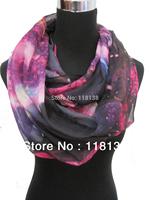 Fashion Ladies Galaxy Star Sky Cosmic Space Print Circle Infinity Scarf , Free Shipping