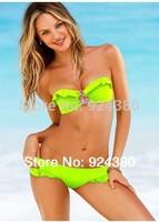 2014 solid neon color bikini set with rhinestone deco falbala edge  bra lolicon women swimwear size S/M/L