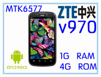 Free shipping original zte v970 Double SIM latest and best, 1Android Smartphone Double core Android 4.03 MTK6577 4.3 'Screen(CH)
