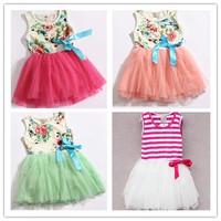 Hot Sale! Free Shipping! 2014 New Girls Dress Childrens Summer Vest Dress,Baby Gilrs Princess Dress,Kid's Floral Dress