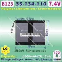 [L123] 7.4V,7600mAH,[35110134] PLIB (polymer lithium ion battery / LG cell) Li-ion battery  for tablet pc,mp4,cell phone,speaker