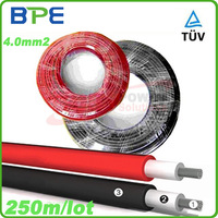 Solar Cable, PV Wire, 4mm2 Cable for MC4 Solar Connector/Solar Power Sytem, TUV, Copper Conductor, 250meters/roll