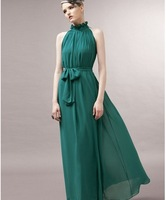 free shipping summer excellent quality, party dress ,Evening dress SEXY dew shoulder chiffon maxi colorful long dress
