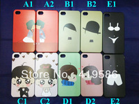 10 designs Cute lovers Boy and Girl Hard Plastic Case Cover Skin For Apple iphone 4 4G 4S Free Button Sticker