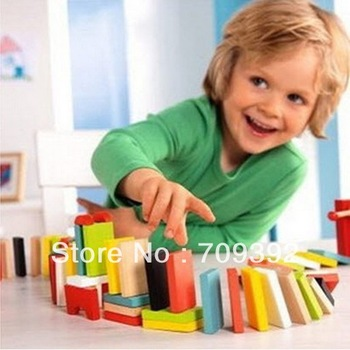 200pcs/pack wholesale-Baby Early Learning educational toys  Many Colors Authentic Standard Wooden Children Domino Toys[99741]