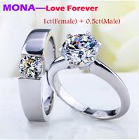 2014 fashion MONA eternal love couple rings wedding ring  Ddiamond silver rings, one carat women's ring and 0.5 ct men's ring