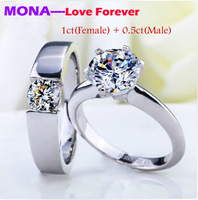 2015 fashion MONA eternal love couple rings wedding ring  Ddiamond silver rings, one carat women's ring and 0.5 ct men's ring