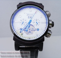 Mens Gent White/Black Tourbillon Date Classic Automatic Mechanical Watch free shipping