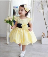 Free shipping 4pcs/lot baby girls summer short sleeve flower belt pearl collar dress baby one-piece yellow color princess dress