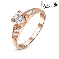 Italina Rigant 18K Real Rose Gold Plated Ring For Woman Made With Swarovski Crystal Stellux Hight Quality Zirconia #RG93663