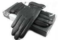 Free shipping winter men's gloves goatskin cashmere warm leather gloves