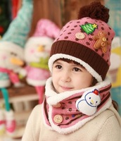 Children's hat and scarf 2 pcs set Handmade Hat winter Warm hat Boys/girls hats Christmas gift 4536H