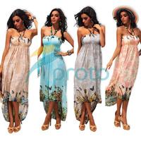 M XXL Plus Size 2014 New Summer Dress Women Strapless Halter Print Bohemian Maxi Long Summer Beach Casual Dress 4185