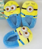 """Soft Minion Stuffed Despicable Me Slippers Collectible Cuddly Stewart Dave Jorge 11"""" Plush slipper Free Shipping 3 Pairs/Lot"""
