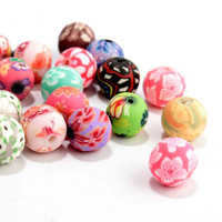 free shipping 100pcs  83-36 Mixed colour 6mm/8mm/10mm/12mm/16mm/20mm  Rose Flower Fimo Polymer Clay Beads DIY Crafts   round