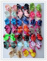 50pcs/lot 4 inches,Free Shipping ,Fashion ribbon bow,Hot Sale ,dot Ribbon bow,Hair Wear .Ribbon Hair bow.Wholesale