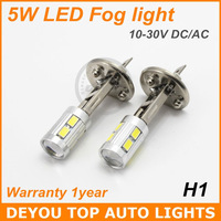 2pcs 5W 6SMD 5630 H1 LED Fog Light Bulb Xenon White car driving Light Lamp 12V 24V 1year warranty
