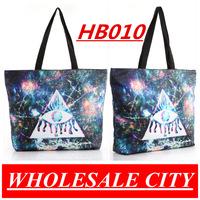 Fashion !Women Triangle Eyes Canvas Bag  Beautiful Printed Student Handbag LAPTOP Ipad Shoulder Bag Totes HB010
