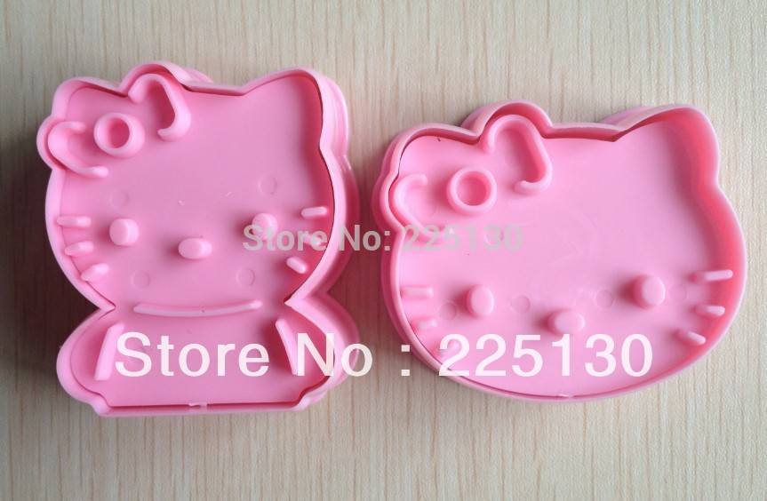 Free shipping 2PCS Hello kitty shape mold sugar Arts set Fondant Cake tools/cookie cutters(China (Mainland))
