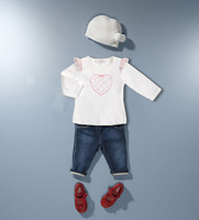 Retail Brand Girl's White T-shirt+Demin Pants+Cap/Children's Shirt+Trouserss+Hat/Cute Baby Kids Clothes 3In Sets