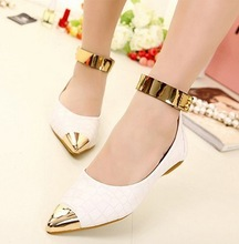 2014 New Spring Women's Ladies Fashion Leisure Ankle Strap Metal Pointed Toe Slip On Flat Shoes For Women(China (Mainland))