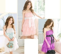 Women's Cute Bow Belt Chiffon Elastic Bra princess Cake Tee Dress