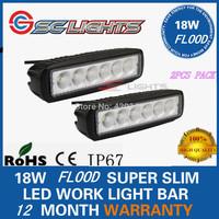 2PCS 6INCH 18W LED WORK LIGHT BAR FLOOD DRIVING LIGHTS OFFROAD 4WD BOAT UTE LED CARS AUTO RUNNING LIGHT