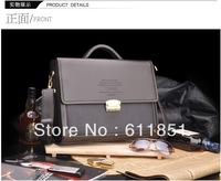 2013 exempt postage leather men's single shoulder bag men's business inclined shoulder bag brown leather briefcase men