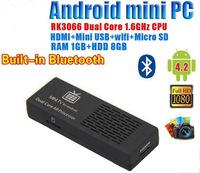 MK808B Mini PC RockChip RK3066 Dual Core Cortex-A9 1.6GHz 1GB / 8GB Android 4.2 HDD Player Google TV Dongle Stick Free Shipping