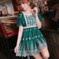 Hot Sale  New Fashion Dresses 2015 Nikyberry Women Chiffon Dress Embroidery Green S M Free Shipping L21176