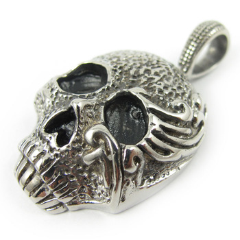 Halloween Skeleton Skull Classic Vintage Stainless Steel Necklace Pendant