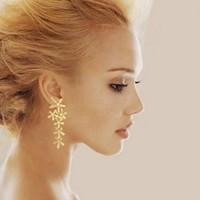 Free shipping! Fashion crystal flowers tassel long drop earrings for women