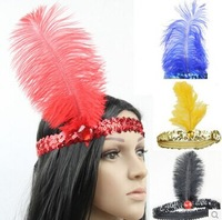 free shipping party supplies Feather hair accessory hair accessory multicolour feather hair accessory sequin headband