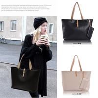 Hot Selling PU Lady's Fashion Simple Handbag Classic Design black colour women shoulder bag Free shipping
