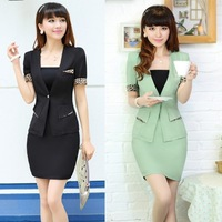 2014 new summer fashion korea casual short sleeve sexy leopard hem office Lady/OL women skirts suits,3 pieces set