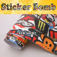 Awesome Style! Hellaflush Sticker Bomb Vinyl Film For Car Wrapping With Air Bubble Free FedEx FREE SHIPPING Size:1.50*30m/Roll