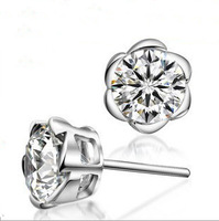 NO Min. Order Free Shipping 2013 Hot 6mm CZ Stud Earrings Zircon Stud Earrings 925 Sterling Silver Stud Earrings Nickel Free