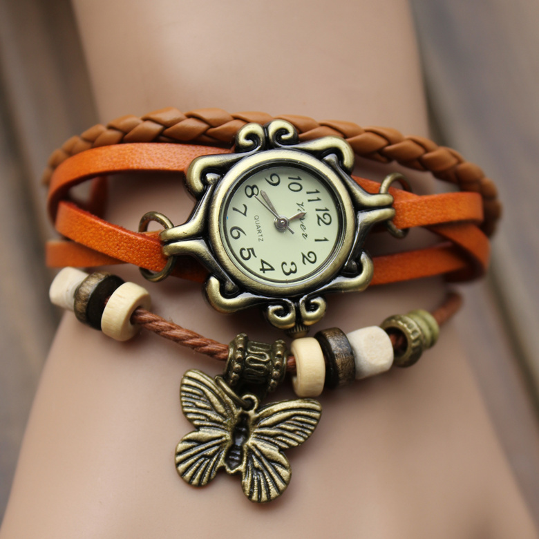 7 Colors Original High Quality Women Genuine Leather Vintage Watches,Bracelet Wristwatches butterfly/Eiffel Tower Pendant(China (Mainland))