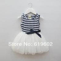 Free shipping 2014 new summer girls cotton striped tutu veil princess dress Girls vest dress 2-5 years 3 piece / lot